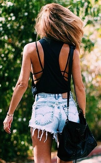 Pair a black tank with light blue denim shorts for an easy to wear look.