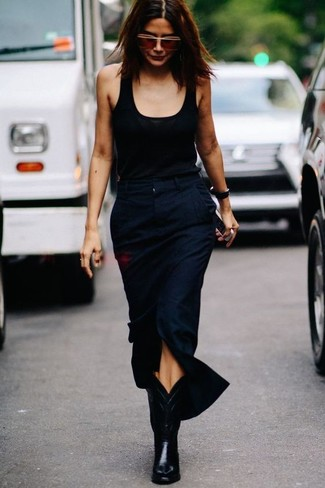 How to wear: black tank, navy slit midi skirt, black leather cowboy boots, brown sunglasses