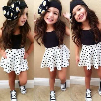 How to wear: black tank top, white polka dot skirt, black sneakers