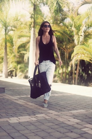 How to wear: black tank, white ripped boyfriend jeans, grey suede loafers, black suede tote bag