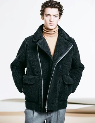How to wear: black textured biker jacket, tan turtleneck, grey wool dress pants