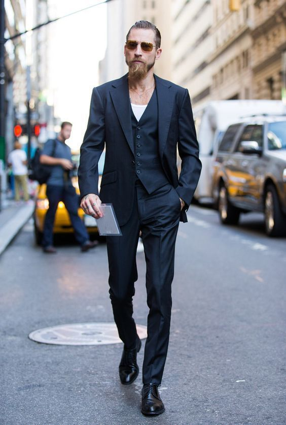 A Black Three Piece Suit And White Crew Neck Tee Are Great Combination