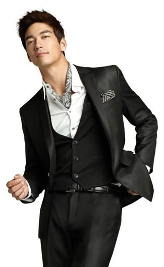 How to wear: black three piece suit, white dress shirt, grey print scarf, black leather belt