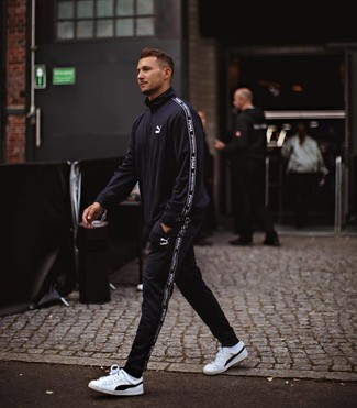 How to wear: black track suit, white and black leather low top sneakers, white socks