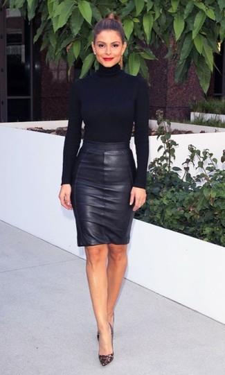 Black Leather Pencil Skirt Uk - Dress Ala