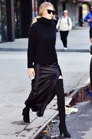 How to wear: black knit turtleneck, black silk maxi skirt, black suede over the knee boots, black sunglasses