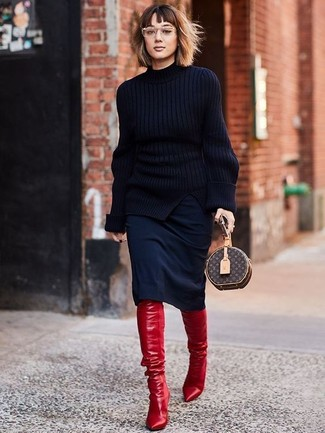 How to wear: black knit turtleneck, black pencil skirt, red leather over the knee boots, dark brown print leather clutch
