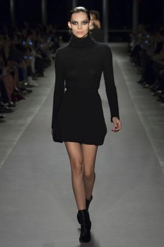 How to wear: black turtleneck, black wool mini skirt, black velvet ankle boots