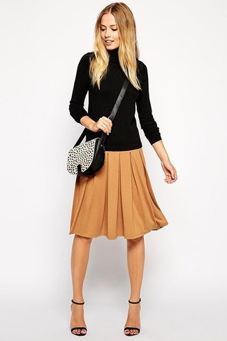 A black rollneck and a brown pleated midi skirt are perfect for both running errands and a night out. Round off with black leather heeled sandals and off you go looking great. It's is a good idea when it comes to planning a well-coordinated getup for unpredictable fall weather.