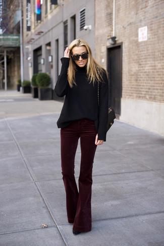 How to wear: black wool turtleneck, burgundy velvet flare pants, black suede ankle boots, black quilted leather satchel bag
