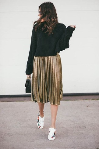 How to wear: black knit turtleneck, gold pleated midi skirt, white floral low top sneakers, black leather clutch