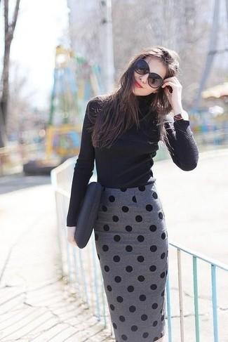 How to wear: black turtleneck, grey polka dot pencil skirt, black leather clutch