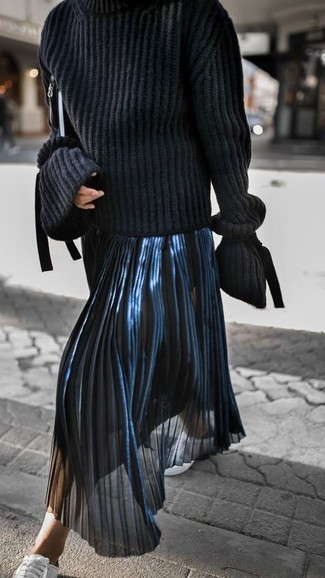How to wear: black knit turtleneck, navy pleated midi skirt, white leather low top sneakers, black leather clutch