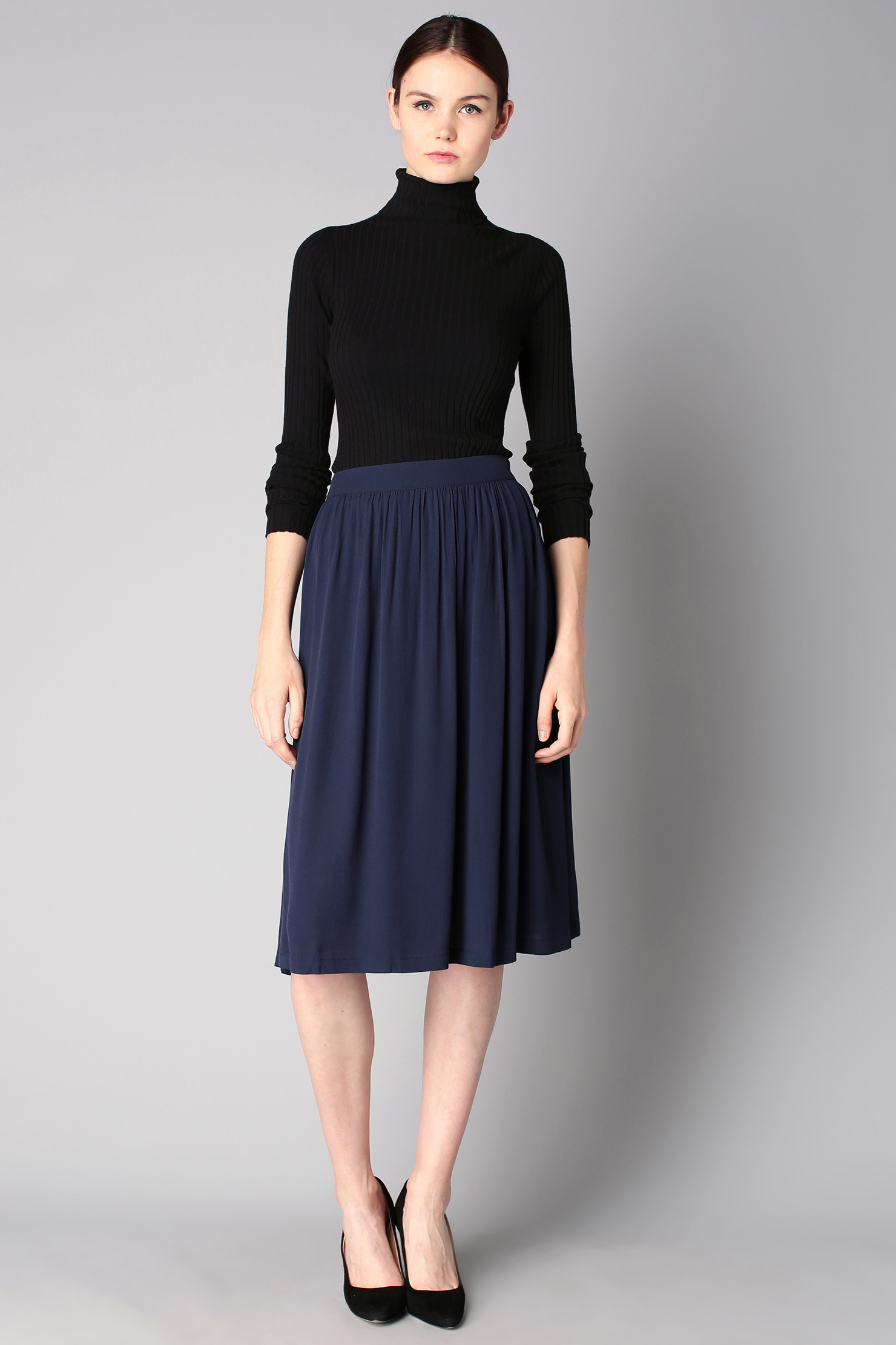 Women's Black Turtleneck, Navy Pleated Midi Skirt, Black Suede ...