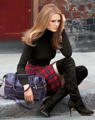 s black turtleneck plaid mini skirt black