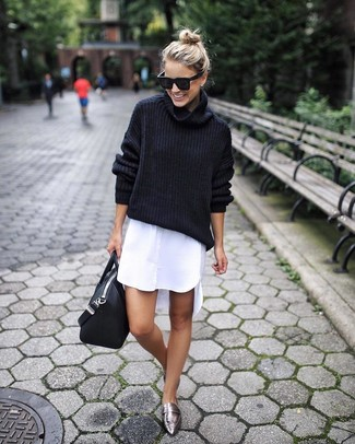 How to wear: black wool turtleneck, white shirtdress, silver leather loafers, black leather tote bag