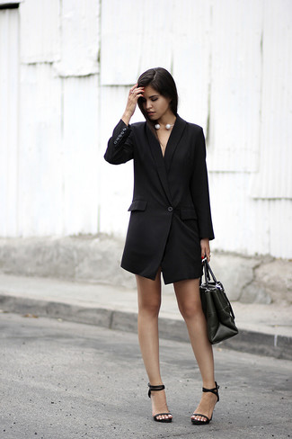 How to wear: black tuxedo dress, black leather heeled sandals, black leather tote bag, white pearl necklace