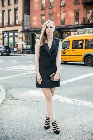 How to wear: black tuxedo dress, black suede pumps, gold clutch, gold bracelet