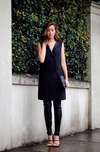 Try teaming a tuxedo dress with black leather skinny pants for a work-approved look. A pair of black leather heeled sandals will seamlessly integrate within a variety of outfits.