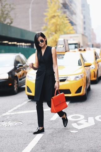 How to wear: black tuxedo dress, black skinny pants, black leather loafers, orange leather satchel bag