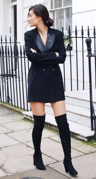 How to wear: black tuxedo dress, black suede over the knee boots