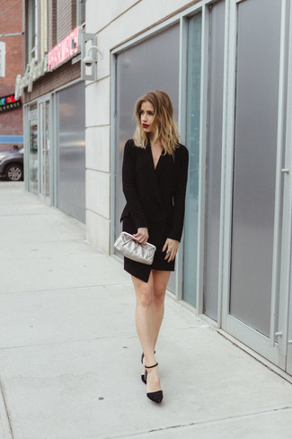 How to wear: black tuxedo dress, black embellished suede pumps, silver leather clutch