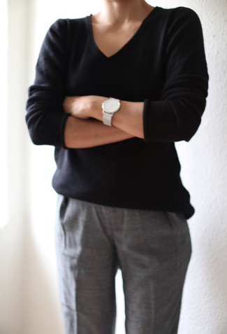How to wear: black v-neck sweater, grey dress pants, white leather watch