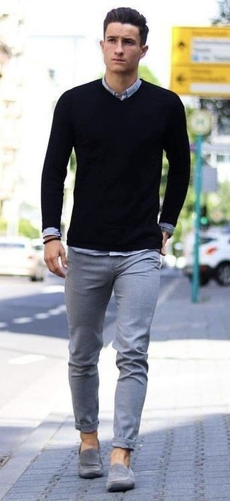 Men's Black V-neck Sweater, Grey Chambray Long Sleeve Shirt, Grey Chinos, Grey Suede Loafers