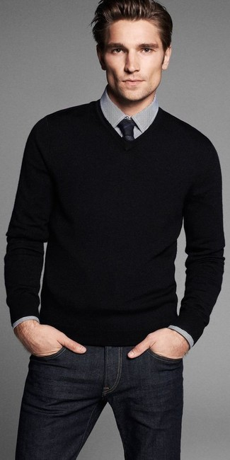 Men's Black V-neck Sweater, White and Black Check Dress Shirt, Black Jeans, Black Tie