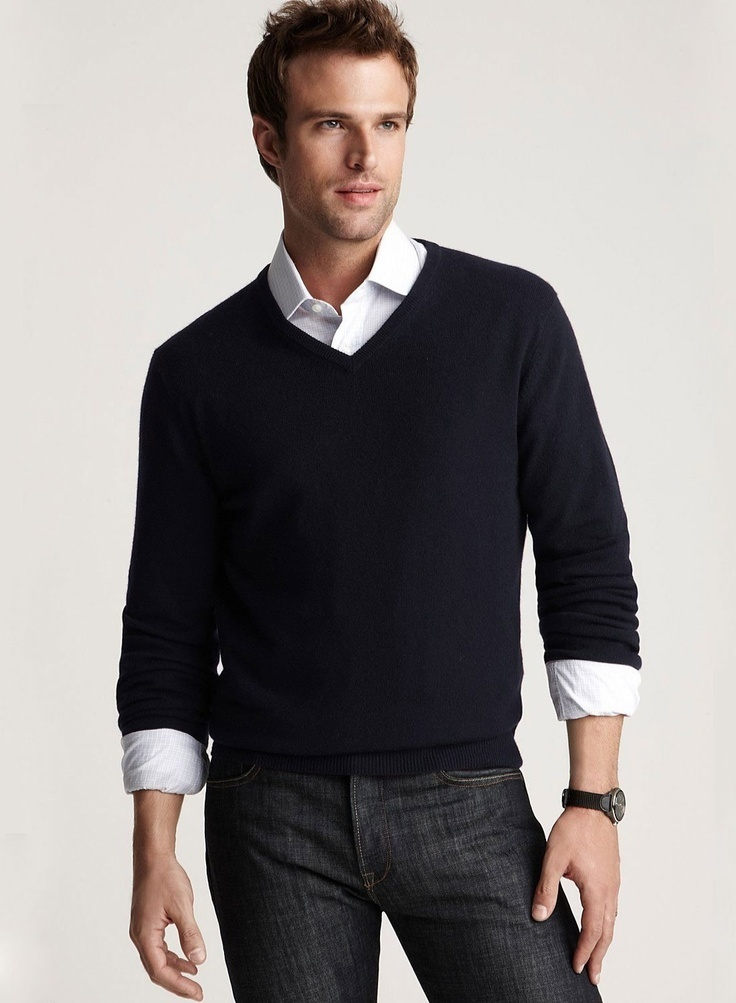 Men's Black V-neck Sweater, White Dress Shirt, Black Skinny Jeans ...