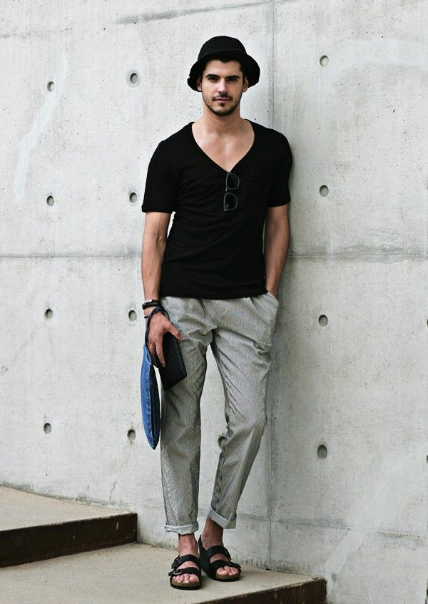 How to Wear a Black and White V-neck T-shirt (26 looks) | Men's ...
