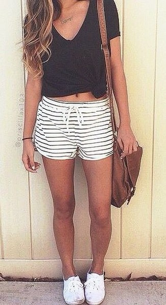 Lucy Paris Striped High Waisted Shorts