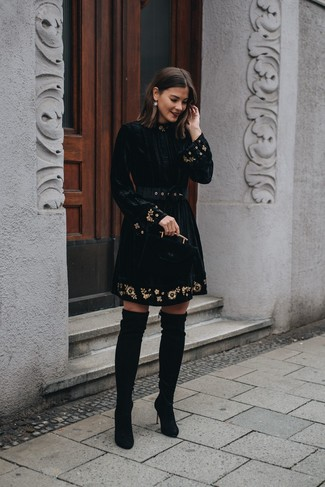 How to wear: black embroidered velvet fit and flare dress, black suede over the knee boots, gold earrings