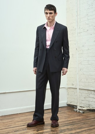 How to wear: black vertical striped suit, pink long sleeve shirt, burgundy leather derby shoes