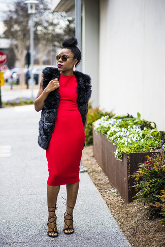 How to wear: black fur vest, red bodycon dress, black leather heeled sandals, white earrings