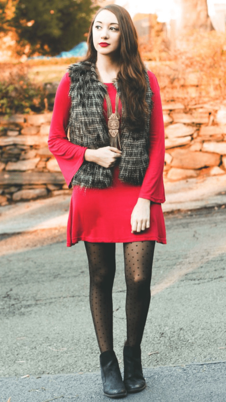 aa34d61746d How to Wear a Red Sweater Dress (21 looks   outfits)