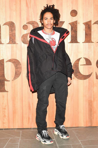 How to wear: black windbreaker, white and red print crew-neck t-shirt, black cargo pants, black athletic shoes