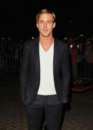 Ryan Gosling wearing Black Wool Suit, White V-neck T-shirt