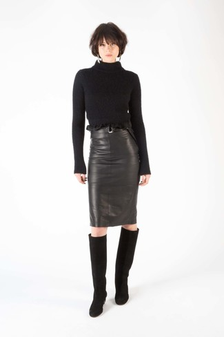 How to wear: black wool turtleneck, black leather pencil skirt, black suede knee high boots