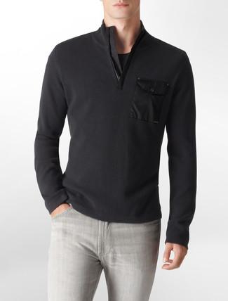 Men's Black Zip Neck Sweater, Black Crew-neck T-shirt, Grey Jeans