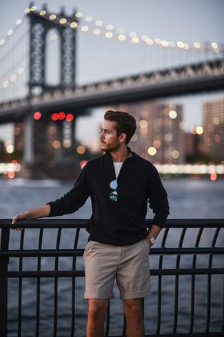 Men's Black Zip Neck Sweater, White Crew-neck T-shirt, Beige Shorts, Brown Leather Watch