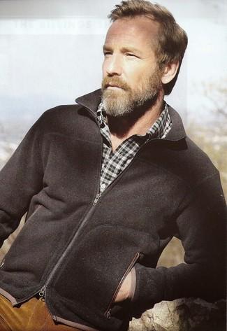 How to wear: black zip sweater, dark green plaid long sleeve shirt, tobacco corduroy jeans