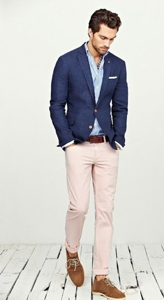 Rock a dark blue blazer with rose pink chinos for a dapper casual get ...