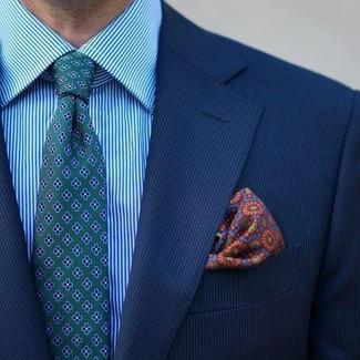 Cómo combinar: blazer de rayas verticales azul, camisa de vestir de rayas verticales en turquesa, corbata con print de flores verde, pañuelo de bolsillo estampado en multicolor
