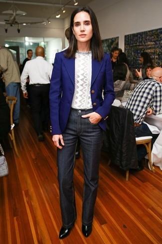 Pantalon gris blazer azul mujer