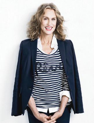 Blazer azul marino jersey con cuello circular en blanco y azul marino camisa de vestir blanca large 13379