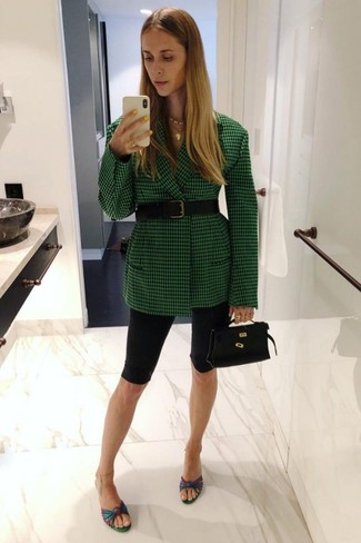 How to wear: green check blazer, black bike shorts, multi colored leather mules, black leather handbag