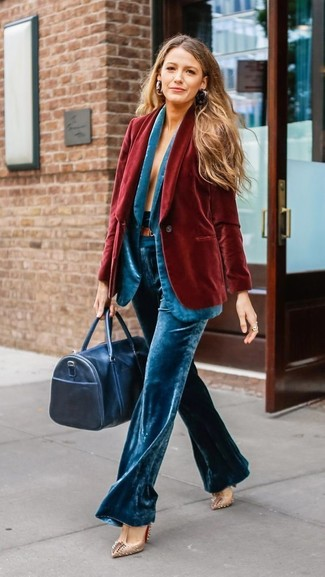 How to wear: red velvet blazer, aquamarine velvet blazer, aquamarine velvet wide leg pants, beige studded leather pumps