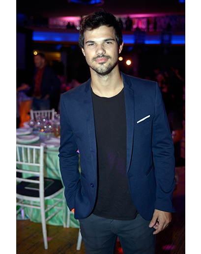 Taylor Lautner wearing Blue Blazer, Black Crew,neck T,shirt
