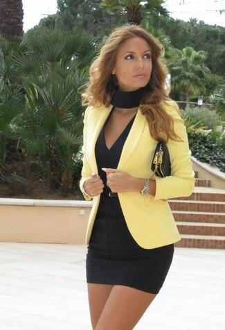 How to wear: yellow blazer, black bodycon dress, black leather crossbody bag, black leather belt